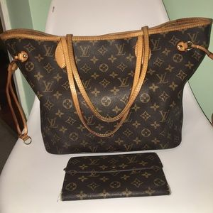 Louis Vuitton Neverfull MM and Large Wallet